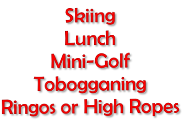 Skiing Lunch Mini-Golf Tobogganing Ringos or High Ropes